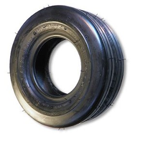 "11-400 X 5 RIBBED TIRE, 2 PLY, 3.2"" WIDE, 10.5"" OD, FLAT PROFILE"