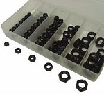 Black Thin Locknut Kit 125-Piece  Fine Thread 10-32 to 1/2in-20